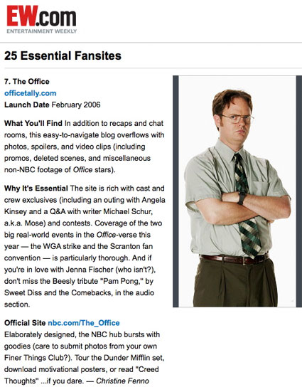 OfficeTally Entertainment Weekly Essential Fansite