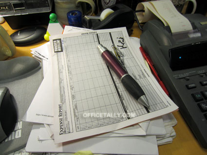 The Office: Jim's expense report on Kevin's desk