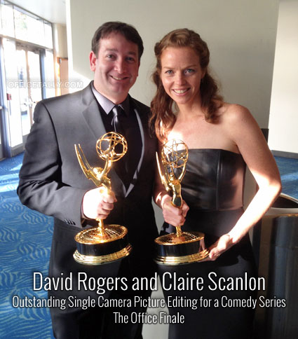 "David Rogers and Claire Scanlon win the 2013 Emmy for ""Outstanding Single Camera Picture Editing for a Comedy Series"" for The Office Finale"