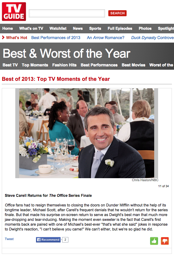 TV Guide Best of 2013 The Office