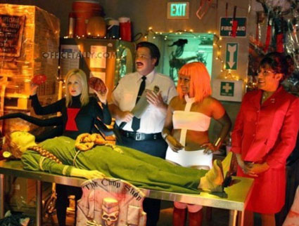 The Office Halloween: Angela as black widow, Kevin as Paul Blart from 'Mall Cop,' Kelly as Leeloo from 'The Fifth Element,' Erin as Fiona from 'Shrek'