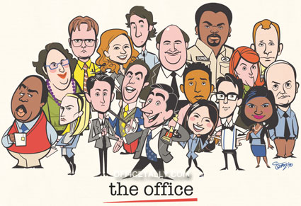 The Office cast cartoon drawing
