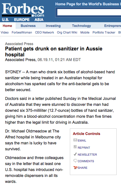 Man gets drunk on hand sanitizer