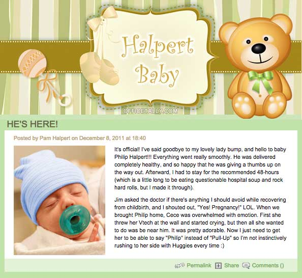 Jim Pam Halpert Baby Blog