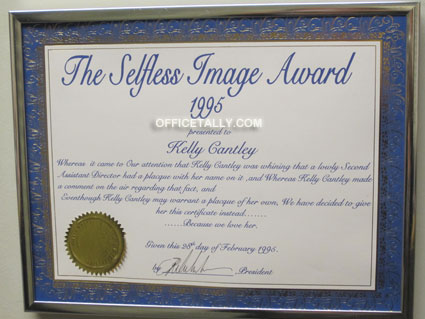 The Office set: Kelly Cantley certificate