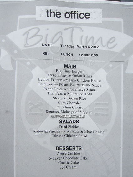 The Office lunch menu