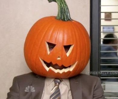 The Office Halloween Dwight as a pumpkin