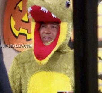 The Office Halloween Oscar as a dinosaur aka electoral college