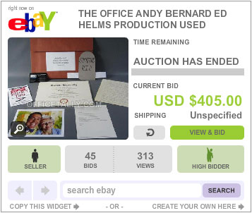 The Office Auction Andy Bernard Props