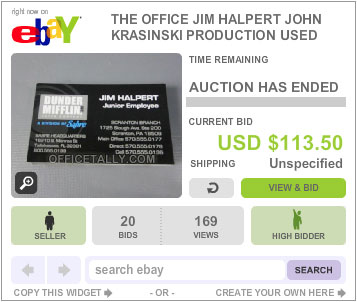 The Office Auction Jim Halpert Business Cards