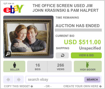 The Office Auction Jim Pam Halpert Photo