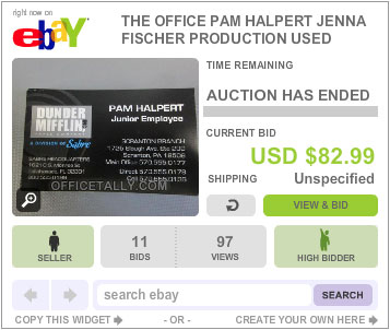 The Office Auction Pam Halpert Business Card