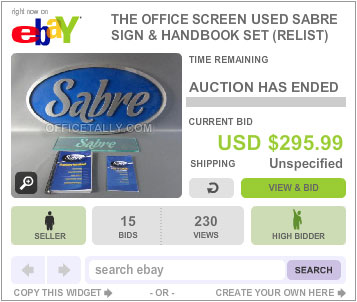The Office Auction Sabre Sign