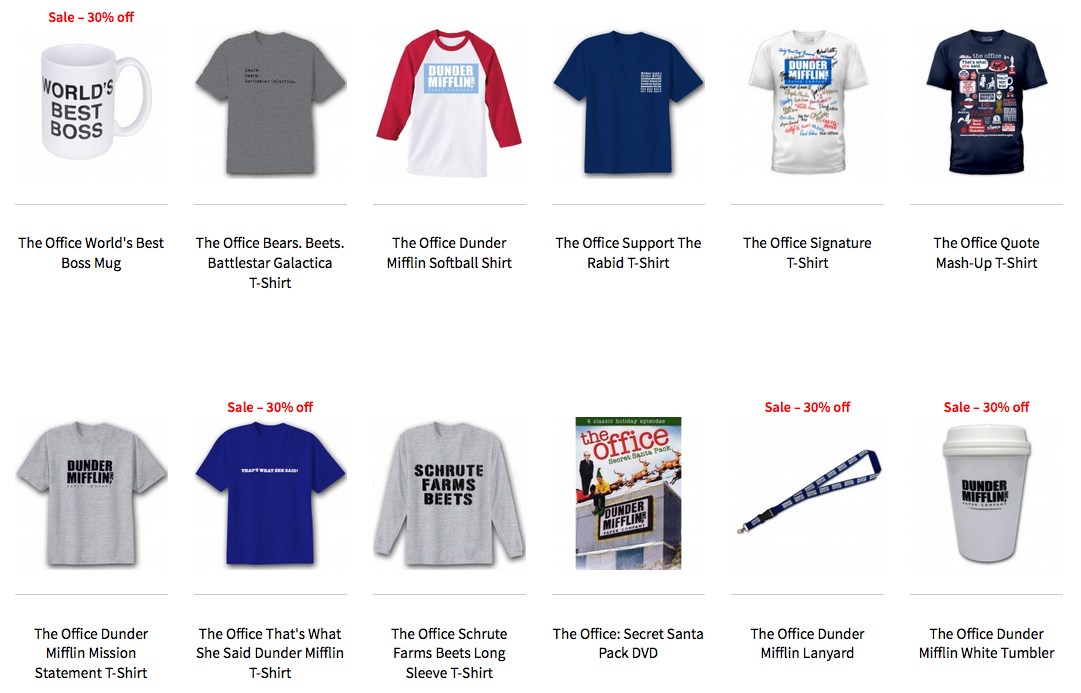 The Office merchandise shirt store sale