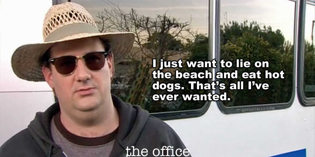The Office beach kevin hot dogs